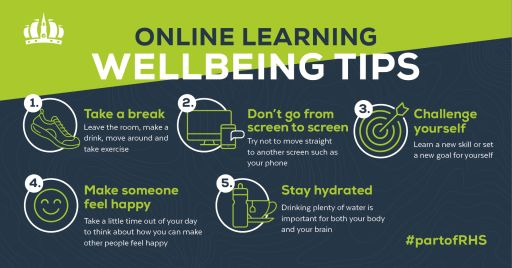 Online learning wellbeing tips