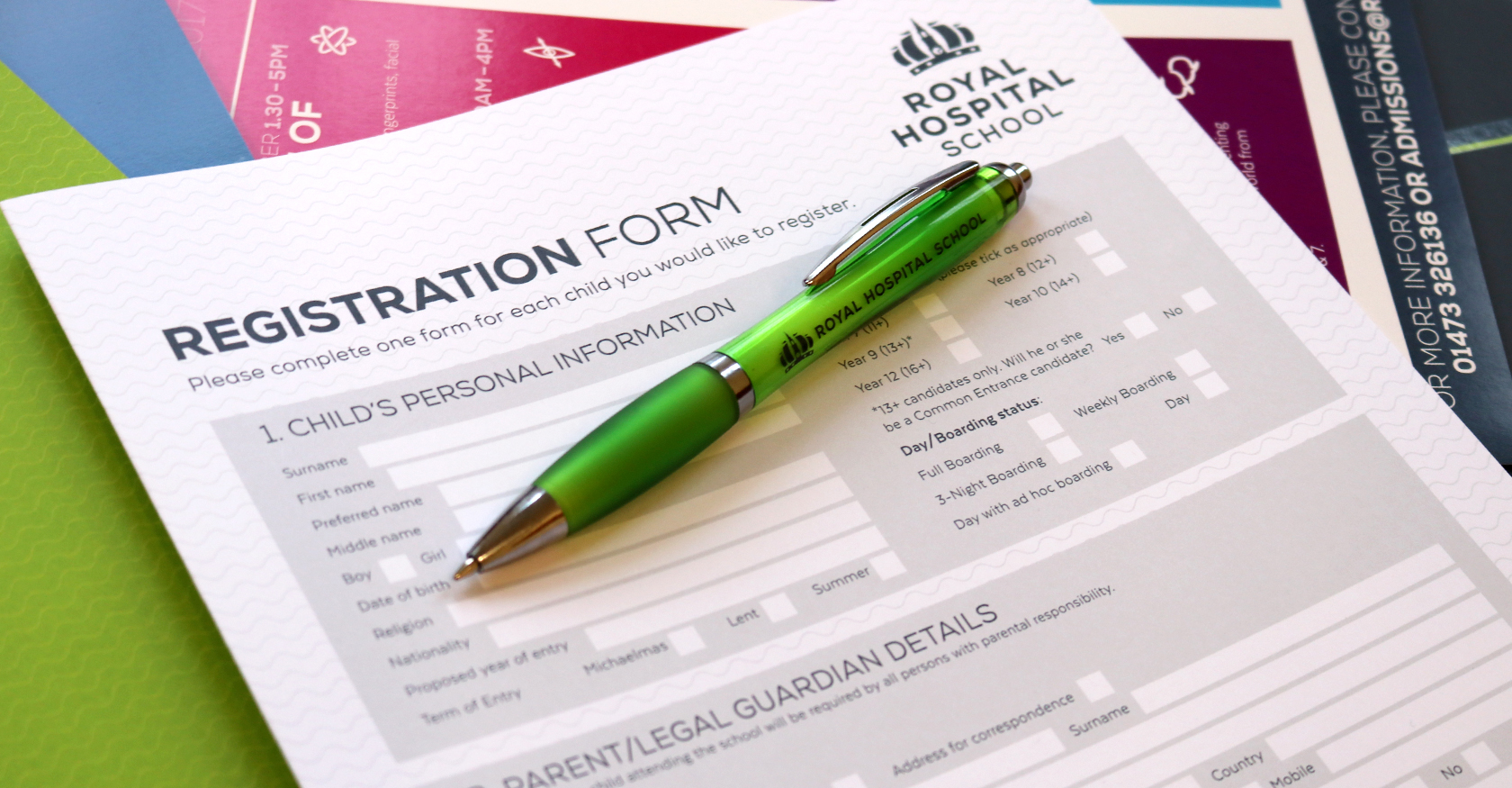 Royal Hospital School's registration form image